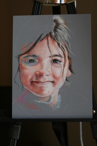 In progress colored pencil portrait of my daughter.