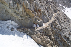 Thomas Prepares to Cross the Ice Chute on Forrester Pass