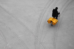Selektmail (Elios.k) Tags: road winter white snow man color bicycle yellow horizontal outdoors person one track mail thenetherlands tire trail covered delivery groningen birdseyeview mailman postman