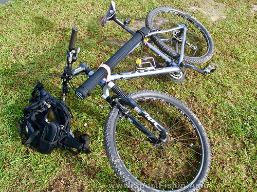 Mountain bike and fishing gear