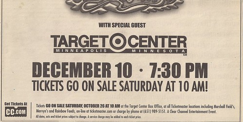 12/10/02 Aerosmith/Andrew W.K. @ Minneapolis, MN (Ad - Bottom)
