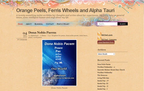 Orange Peels Ferris Wheels and Alpha Tauri