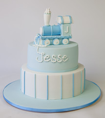 Jesse's Train Christening Cake (Sweet Tiers) Tags: birthday blue boy white train modeling steamengine christeningcake 2tier handmadetopper