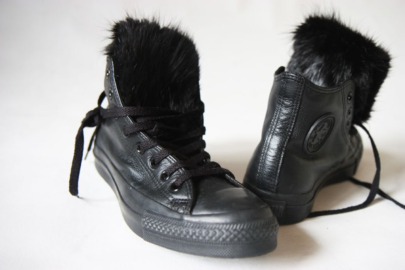 DIY mink fur converse sneaker refashion (IN)DECOROUS TASTE 2