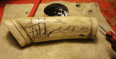 my scrimshaw (fishfish_01) Tags: handle knife ivory craft deer arctic whale bone whaling artic whaler antler scrimshaw scrimshander