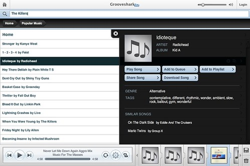Grooveshark: Canciones y Artistas via streaming