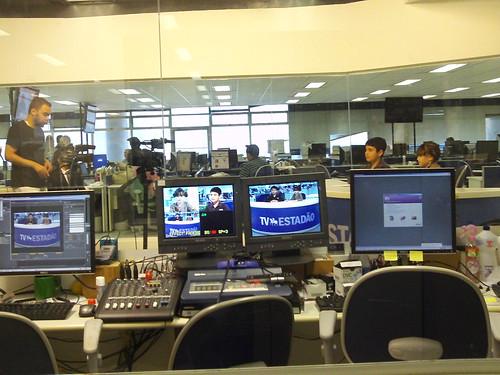 Gravando o programa para TV Estadão