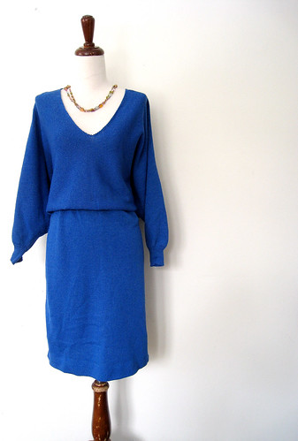 AZURE KNIT Plunging Batwing Sleeve Sweater Dress, 1980's