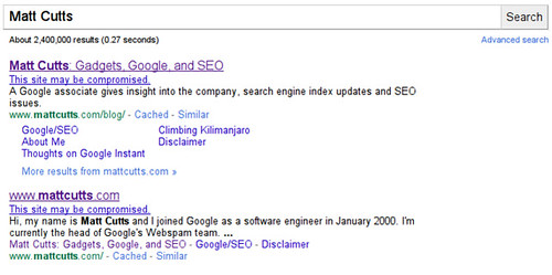 Hacked Site in Google Results