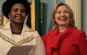 Republic of South Africa Foreign Minister Maite Nkoana-Mashabane and United States Secretary of State Hilary Clinton discuss issues in Washington. After WikiLeaks, the U.S. is anxious to be seen with African leaders. by Pan-African News Wire File Photos