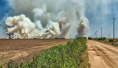 A Fire on the Horizon (Jeff Clow) Tags: road ranch summer oklahoma danger rural fire dangerous risk farm dirtroad prairiefire smokeclouds gapr