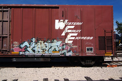 ISTO (TRUE 2 DEATH) Tags: railroad train graffiti smash tag graf traintracks rusty trains bn railcar intel rusted weathered spraypaint boxcar railways sb railfan freight bnsf reefer isto tci graffitiart freighttrain rollingstock wfe scrapped westernfruitexpress benching bnfe bnsf799202