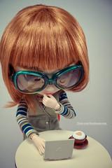 Misaki (M. Ribeiro ) Tags: white cute glasses bigeyes doll geek stripes posing pullip boneca custom nerdy prunella obitsu rewigged sbhm pullipprunella