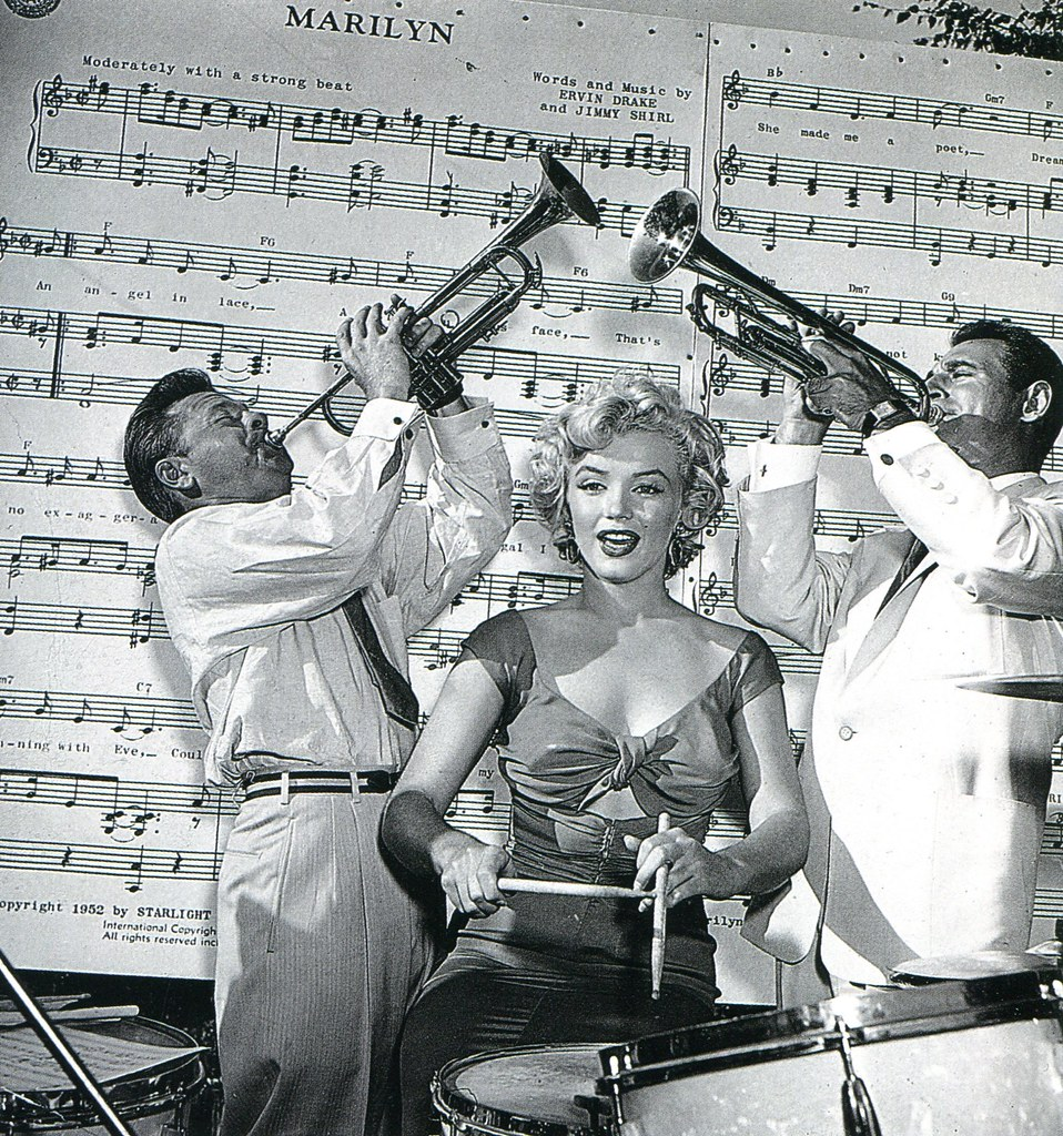 Mickey Rooney, Marilyn Monroe and Ray Anthony