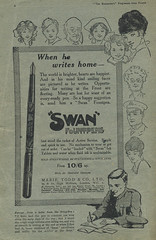Swan Fountain Pen Advert WW1 (MomentsBeingMe) Tags: old uk ink vintage soldier cartoon ephemera advertisement advert fountainpen ww1 1wk thefront fountpen 19141918 writinghome