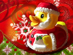 [フリー画像] グラフィックス, イラスト, 動物(イラスト), クリスマス, アヒル, 201012300500
