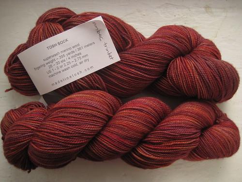 Madelinetosh Tosh Sock yarn in Amber Trinket colorway