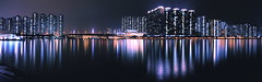 Tsing Yi Waterfront Panorama (duncluk ) Tags: park bridge light sea sky panorama skyscraper landscape hongkong pier waterfront apartment nightview   density  tsuenwan d90   tsingyi