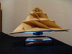 IMG_7762 - Chris Palmer Flower Tower Levitating (tend2it) Tags: geometric toy cool origami geek geometry levitation revolution magnetic chrispalmer levitron flowertower tesellations tesselllation