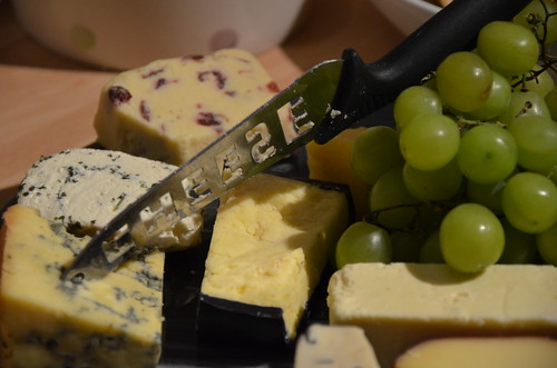 Cheeseboard and cheeseknife and cheeses