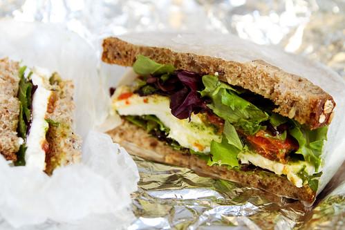 mozzarella, tomato, basil pesto sandwich