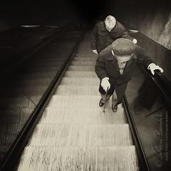 no country for old men () Tags: street old paris men scale andy up photography strada metro andrea escalator andrew age tired su metropolitain fotografia parigi et stanchi uomini vecchi mobili benedetti