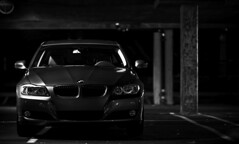 BMW (DodogoeSLR) Tags: auto bw white 3 black car night campus nikon parkinglot power ride muscle german crop bmw flex beamer nikkor usf sportscar 3series e90 koret 328i 85mmf14 spacegrey