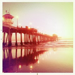 HB Pier (Jason Bogs) Tags: ocean california ca winter sunset red jason reflection art beach yellow vintage square pier sand warm surf pacific huntington jim surfing pacificocean bogs amos huntingtonbeach hb iphone squarephoto flickraward squareprint jimamos hipstamatic jasonbogs