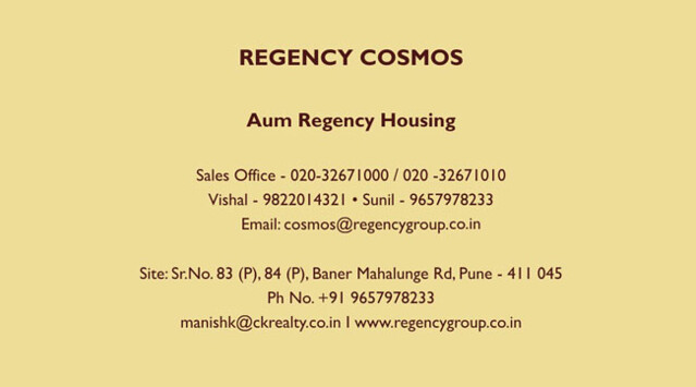 Regency Cosmos Almost Ready Possession 3 BHK Flats at Baner Pune Contacts for Booking