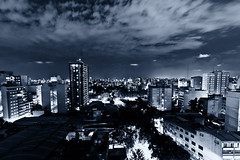 Buenos Aires Gtica [Explored] [Front Page] (JoeyRamone) Tags: city blue sky argentina night clouds buildings lights nikon cloudy buenos aires wideangle monotone gotham sigma1020mm d40 darkknightstyle