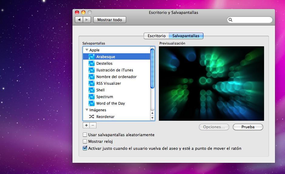 Captura de pantalla de Mac OS X en la que puede verse el motivo por el que cuando uno va al servicio y vuelve, justo cuando está a punto de tocar el ratón va y salta el salvapantallas
