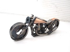 Copper and Steel Motorcycle Sculpture