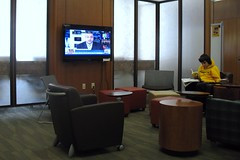 library (.michael.newman.) Tags: school college television wisconsin campus reading tv university library commons cnn milwaukee learning meir flatpanel uwm golda alivelshi