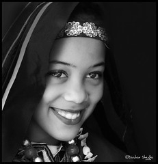 A Girl From Ghadamis ! (Bashar Shglila) Tags: portrait sahara girl portraits desert libya libyan    ghadamis  absoluteblackandwhite bestportraitsaoi tripleniceshot mygearandme