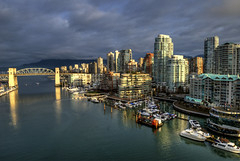 Good Morning Vancouver! (Brandon Godfrey) Tags: pictures city morning light sky urban mountain canada mountains water glass colors beautiful skyline vancouver clouds landscape boats outdoors photography daylight scenery colorful downtown day cityscape colours bc artistic metro cloudy photos harbour pics britishcolumbia details towers scene tourist highrise falsecreek pacificnorthwest metropolis colourful condos shining westend hdr highdynamicrange highrises density dense burrardstbridge vancity destinations lowermainland 2011
