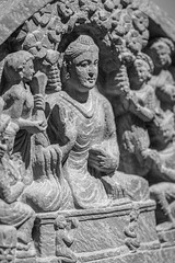 Religious Art (K.G.Hawes) Tags: chazenmuseumofart art history historic historical india indian sculpture statuary statue statues relief stone carved carving religious religion black white bw monochrome monochromatic