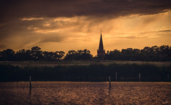 The rain is coming! (VandenBerge Photography) Tags: panorama poland westpommern water lake landscape rain clouds sky skyscape church tower travel nature reed trzciskozdrj weather color canon europe evening