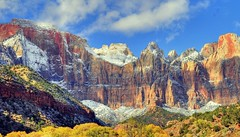 First Kiss - of snow - this autumn at Zion National Park (NikonKnight) Tags: autumn snow colors clouds nationalpark shadows zion zionnp hdr watchman patriarchs photomatix westtemple