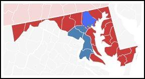 2010 Election results by county, Maryland Governor, Washington Post graphic, modified to include Baltimore County