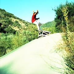 Mighty at Bronson (antix818) Tags: xpro crossprocessed fuji ditch skateboarding velvia bronica eddie 50 expired mighty moreno bronson thrashin fuckery sqam