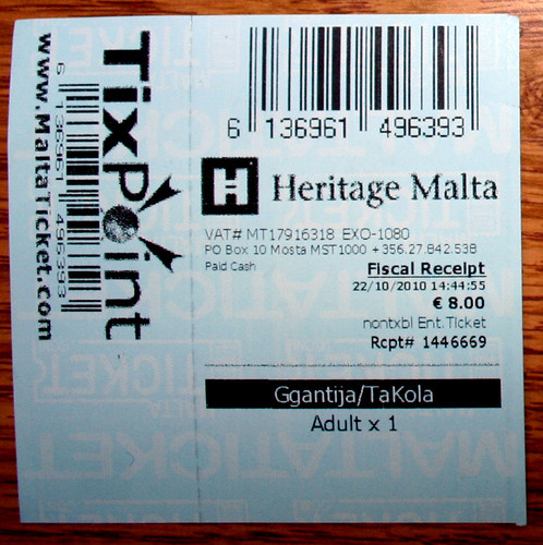 Ticket for the Temple of Ggantija in Xaghra Gozo Malta