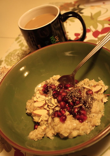 oatmeal with arils and chia seeds