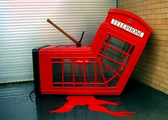 Banksy NY (danimaniacs) Tags: red white ny newyork black art phonebooth banksy ax murdered cmwdred cmwdweeklywinner