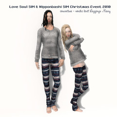 nordic knit Leggings-Navy