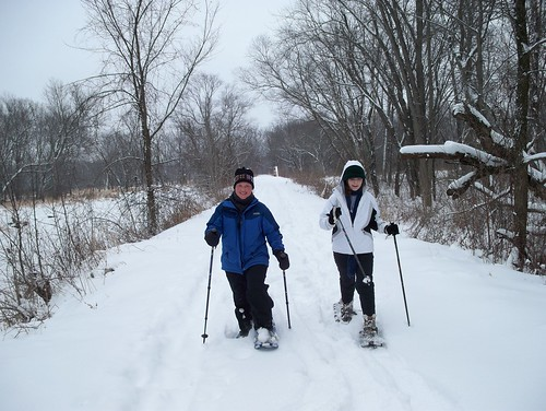 Snowshoeing Girls