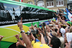 Fans And Brazil Team Bus