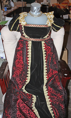 Burgundy and black regency gown