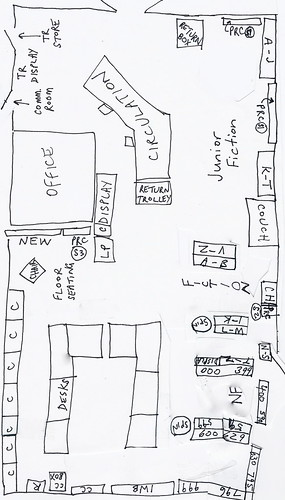 Library floor plan mud map