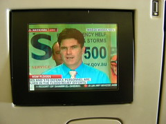 6 Dec 2010: In-flight entertainment display on my Virgin Blue flight with a live feed about massive flooding in New South Wales