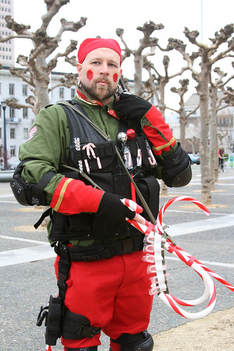 Santa's Army Soldier with Candy Cane Gun